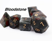 Bloodstone Gemstone dnd dice-Natural Gemstone Dice-Full Set Dice for dungeons and dragons-Gem dice-rpg Dice-Engraved DnD Dice Set-Amazing