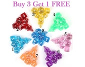 Buy 3 Get 1 FREE-Transparent dice set-DnD Dice Set-Polyhedral Dice Set-RPG Dice Set-Dungeons and Dragons Dice-dnd dice-rpg D20-D D dice