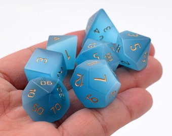 Full Set Gemstone Dice-Dungeons /& Dragons-Moon Wolf Dice for Dungeons and Dragons-Polyhedral Dice Set-DnD Dice-RPG Dice Set-Choose Material