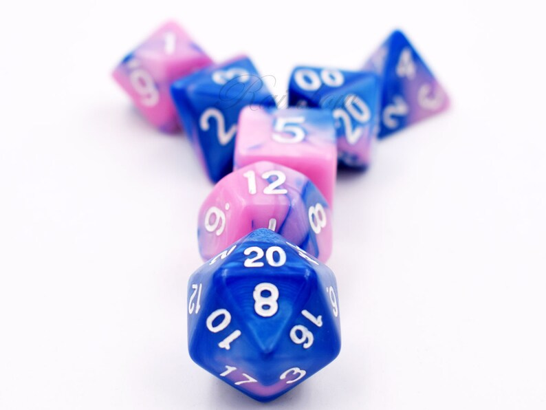Pink /& Blue Dice-dungeons and dragons dice-dnd dice-rpg Dice-dnd dice set-Polyhedral dice set-DnD Gift Ideas-Pathfinder-Role Playing Games