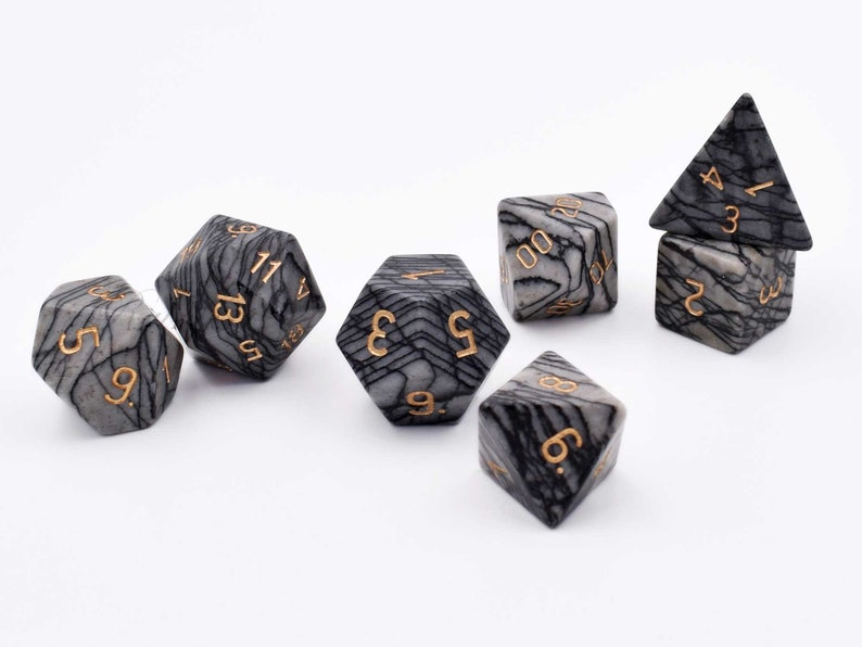 dnd dice-dungeons and dragons-Natural Mesh Jasper Playing Dice-Dice Set Stone-Gemstone Polyhedral Dice Set-critical failure dice-Gem dice