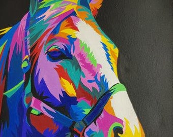 Abstract Horse - Handpainted Acrylic on Canvas - 40cm x 30cm
