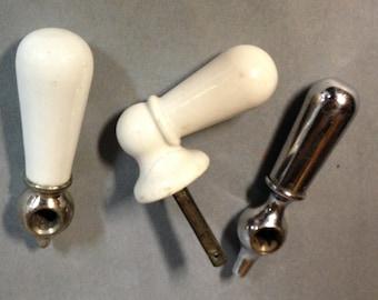 3 antique porcelain  handle parts repurpose