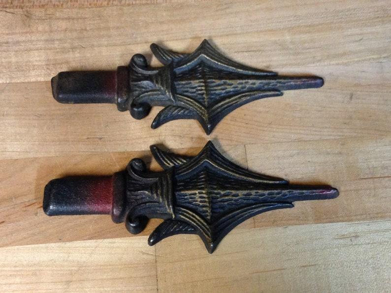 Antique vintage art deco cast iron curtain drapery rod finial parts repurpose reclaimed