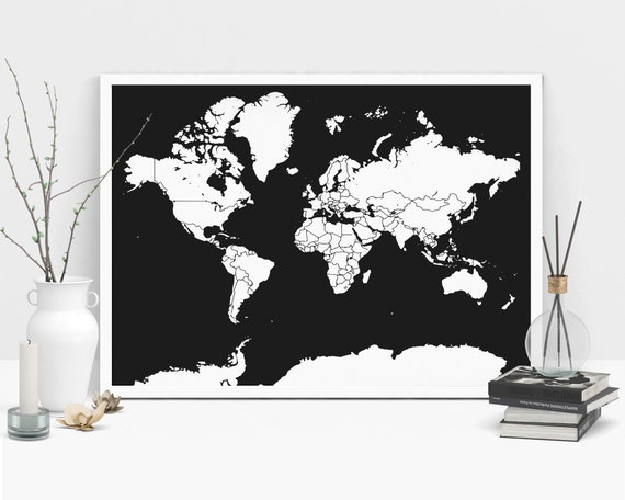 World Map Poster Black And White Scandinavian Style Map Poster Etsy