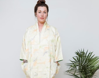 Silk Yellow Kimono Duster with Cranes and Pockets  // Altered & Reworked Vintage // Japanese Vintage Kimono // Silk Robe