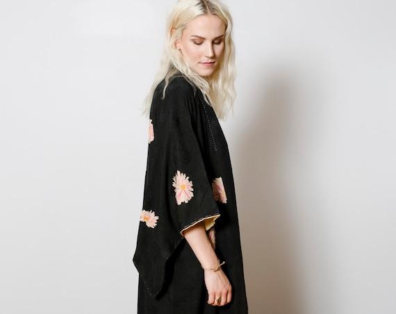 Black Silk Kimono w/ Fireworks Flowers // Vintage Japanese  Kimono // Kimono Dress // Silk Robe // Kimono Duster // House Coat