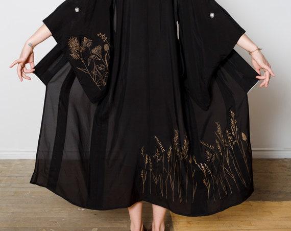 Silk Black Mesh Kimono Gold Prairie Landscape / Kimono Duster / Vintage Japanese Kimono / Silk Screen Print / Reworked Vintage / Silk Robe