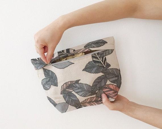 Leaf Pattern Silk Zip Bag w/ Silver Highlights // Vintage Kimono Fabric