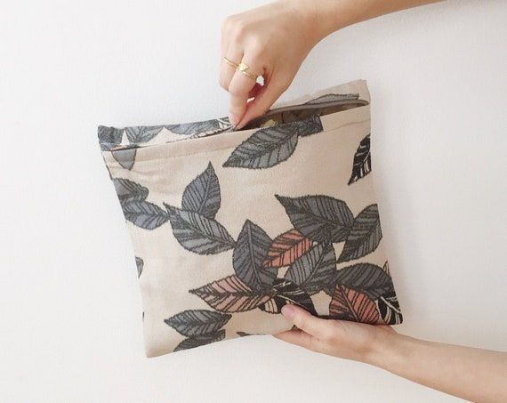 Leaf Pattern Silk Zip Bag w/ Silver Highlights // Vintage Kimono Fabric