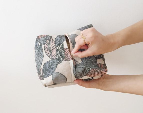 Leaf Pattern Silk Zip Bag w/ Silver Highlights // Vintage Kimono Fabric // Cosmetic Bag