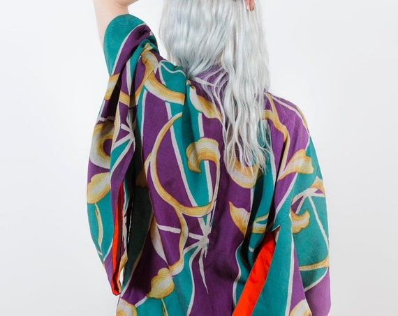 Silk Kimono Duster // Teal & Purple w/ Gold Vines // Reworked Vintage // Japanese Vintage Kimono // Silk Robe // House Coat