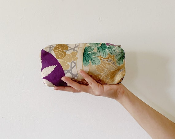 Silk Purple Zip Bag w/ Flower & Leaf Patterns // Vintage Kimono Fabric