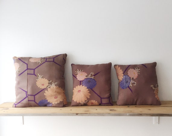 Purple Floral Silk Cushion // Midcentury Kimono Fabric // Decorative Cushions // Home Decor // Cushion Set