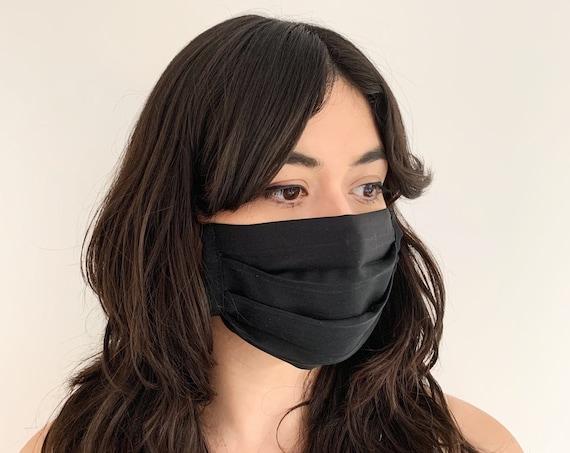 Black Silk Mask // Kimono Fabric // Modern Vintage // Repurposed Fabric