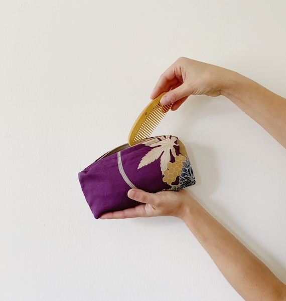 Purple Silk Zip Bag w/ Flowers and Leaves // Vintage Kimono Fabric