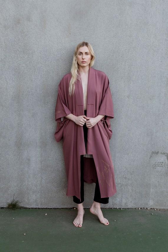 Prairie Grass Silk Kimono / Dusty Rose Vintage Kimono / Original Screen Print / Reworked Vintage / Japanese Kimono / Silk Robe