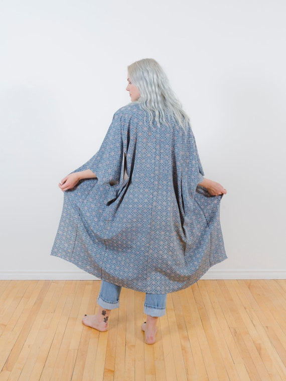 Dusty Blue Kimono w/ Floral & Geometric Pattern // Altered-Reworked Vintage // Japanese Vintage Kimono // Silk Robe