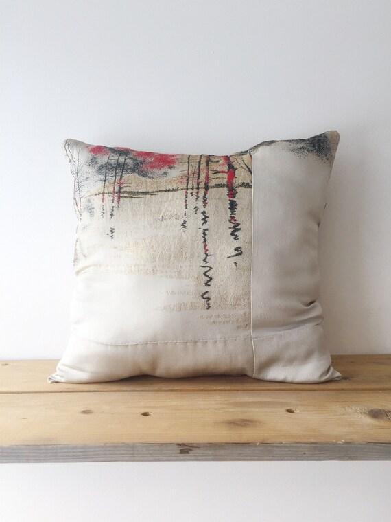 Light Grey Silk Cushion w/ Woven Winter Landscape // Vintage Kimono Fabric // Decorative Cushions // Home Decor // Cushion Set