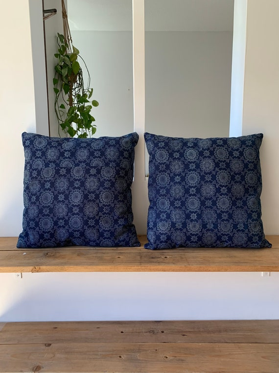 Navy Floral Cotton Cushions // Kimono Fabric // Decorative Pillow // Home Decor