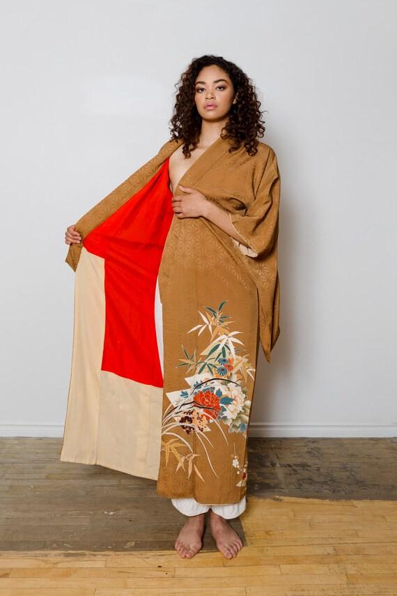 Caramel Brown Silk Kimono // Vintage Japanese  Kimono // Floral & Geometric Pattern // Kimono Dress // House Coat //  Silk Robe