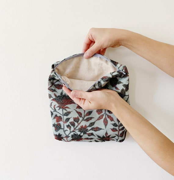Botanical Blue Silk Zip Bag // Vintage Kimono Fabric