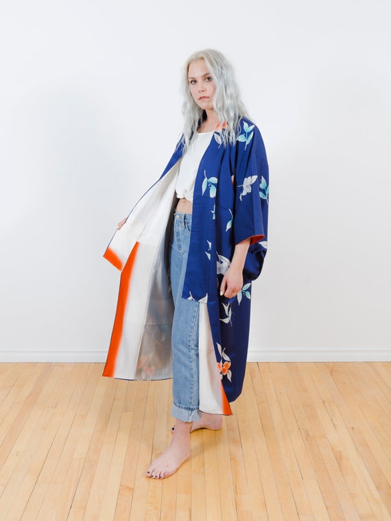 Royal Blue Kimono Duster w/ Flowers // Altered & Reworked Vintage // Japanese Vintage Kimono // Silk Robe // House Coat