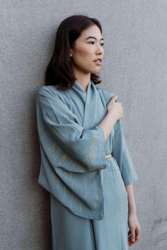 Prairie Grass Silk Kimono / Blue Vintage Kimono / Original Screen Print / Reworked Vintage / Japanese Kimono / Silk Robe