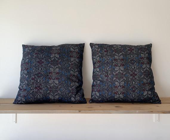 Silk Woven Floral Cushions // Vintage Kimono Fabric // Decorative Cushion // Home Decor // Silk Pillows