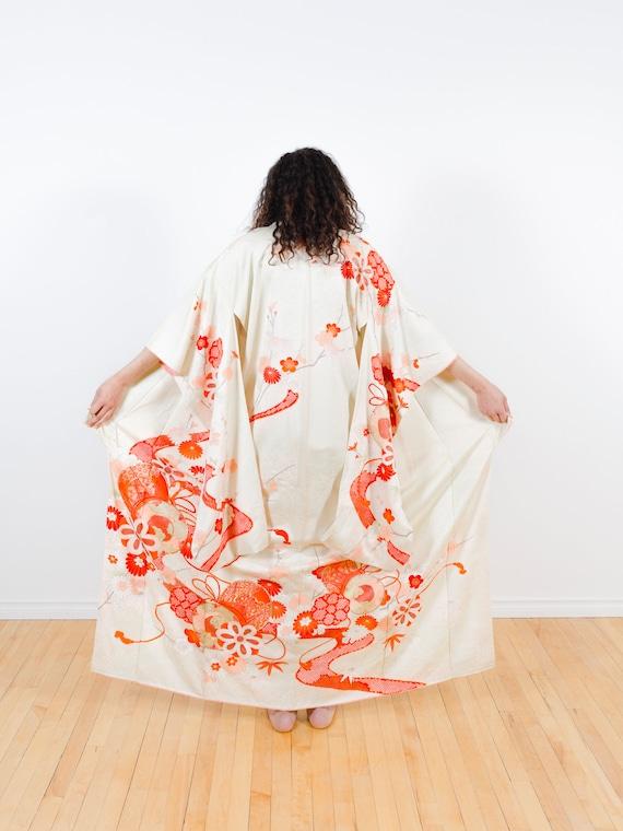 Mint Green Kimono w/ Red & Pink Flowers // Vintage Japanese Kimono // Kimono Dress // Silk Robe // Kimono Duster // Hand-painted