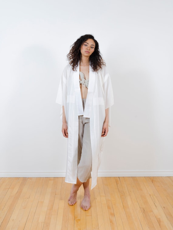White Sheer Silk Kimono w/ Golden Prairie Grass // Silk Screen Printing // Reworked Vintage // Japanese Juban // Silk Robe // Light Duster