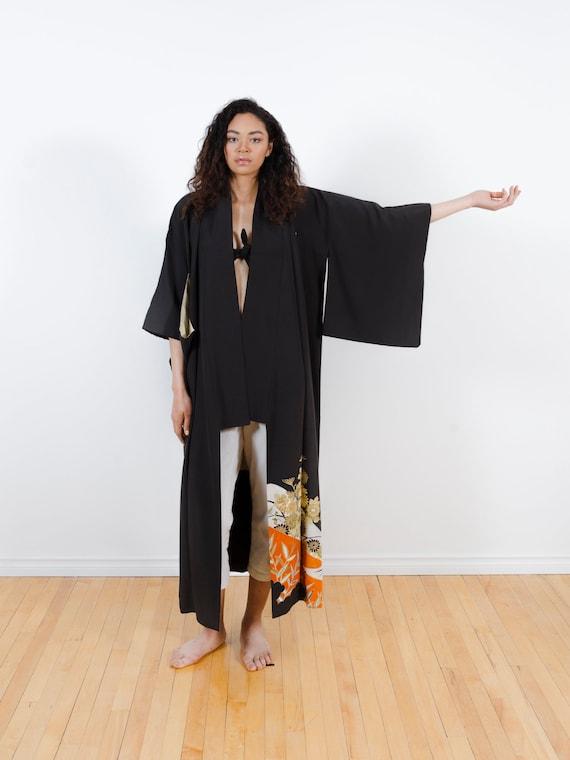 Black Kimono w/ Gold Flowers // Vintage Tomesode Kimono //  Embroidery & Hand-Painted // Altered Vintage // Kimono-duster // Silk Robe