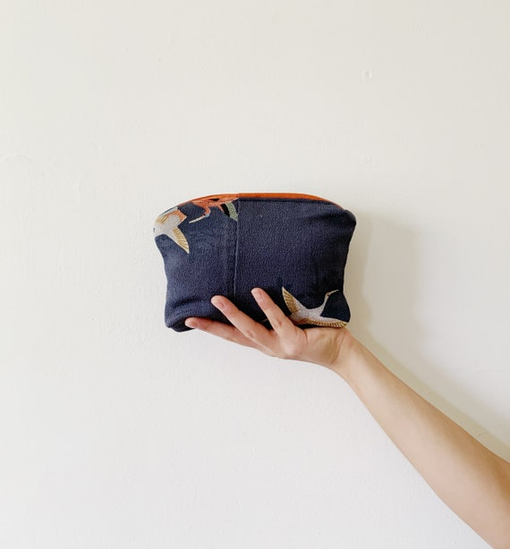 Silk Blue Zip Bag w/ Cranes // Vintage Kimono Fabric