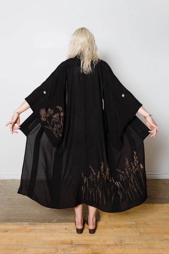 Silk Black Mesh Kimono Prairie Landscape / Sheer Kimono Duster / Vintage Japanese Kimono / Silk Screen Print / Reworked Vintage / Silk Robe