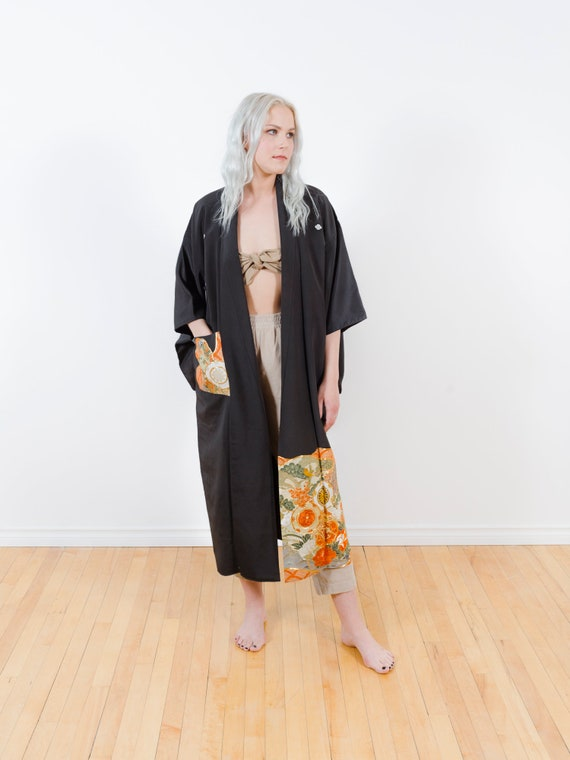 Silk Black Kimono w/ Zen Garden & Pocket // Vintage Tomesode Kimono // Embroidered, Hand-Painted // Altered Vintage // Duster // Silk Robe