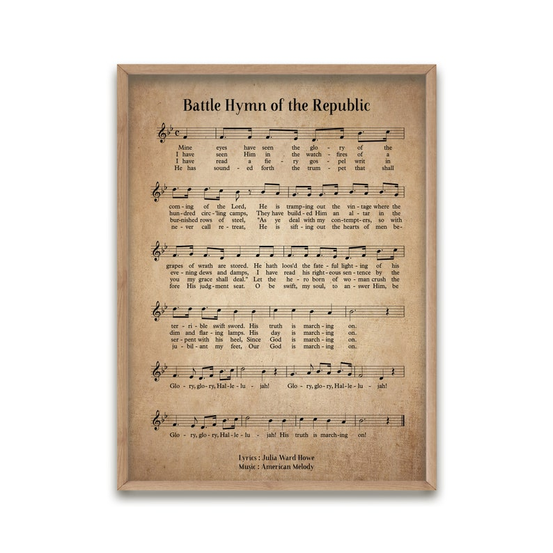 Battle Hymn of The Republic Vintage Hymn Wall Art Print Biblical Sheet  Music Print Poster Home Decor Large Wall Art Giclée Art Print