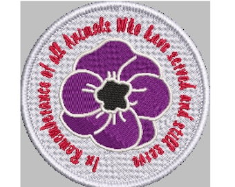 Animal Rememberance patch with Embroidered Merrow Edge in choice of Sew, Iron on or Hook & Loop (Velcro)