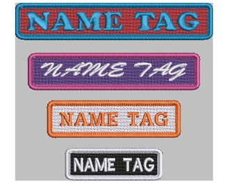 Iron on, Sew or Hook & Loop Custom made 1 Line Name / Phrase tag with an Embroidered Merrow edge in choice of sizes, fonts and colours.