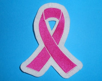 Pink Ribbon Iron on, Sew or Hook & Loop (Velcro) Embroidered Patch
