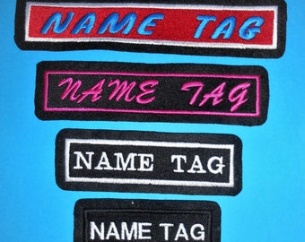 Custom made Rectangle Name / Phrase tag in choice of sizes, fonts and colours. Iron on, Sew or Hook & Loop (Velcro) Embroidered Patch