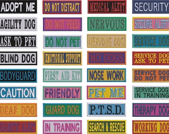 Service Dog patches in choice of sizes, fonts and colours. Hook & Loop (Velcro) backed Embroidered Patch.