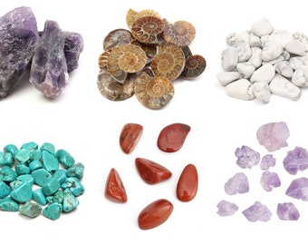 Natural Rock Chips, Gemstone Chips, White Turquoise Chips, Raw Amethyst, Chrysocolla, Red Jasper, Ammonite, Nautilus Fossil, Ammonite Fossil