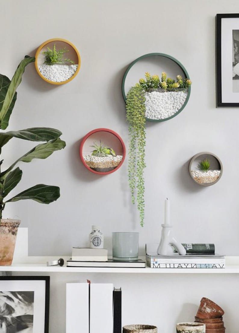 Colorful Round Hanging Planter Wall Planter Hanging Etsy