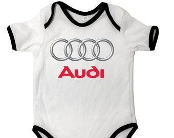 b79b5f6993a35 AUDI QUATTRO logo auto baby body car Gift Bodysuits Bl Body bébé Manche  courte Logo Fans Blanc 100% Coton Auto Cadeau Voiture