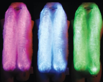 Light up LED Faux Fur Boa Rainbow Colour Changing Festival Burning Man