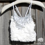 Light Up LED Silver Sequin Halter Top in Faux Fur Bra Festival Burning Man