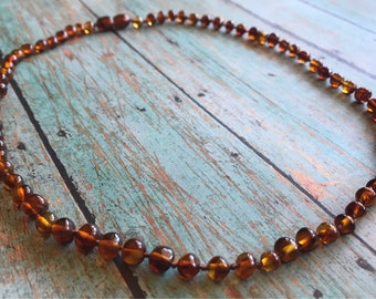 "Baltic Amber Adult Necklace in Polished ""Maple"""