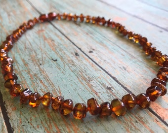 "Baltic Amber Teething Necklace in Polished ""Maple"""