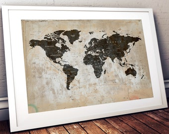 Map wall decor etsy push pin world map printable world map wall art world map print world map poster world map wall art map wall decor digital download map gumiabroncs Gallery