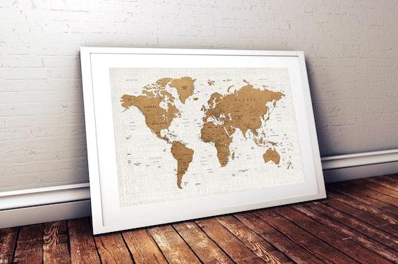 Push pin travel map. Push pin world map canvas set for wall decoration